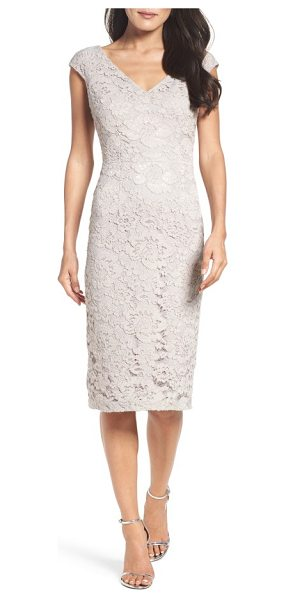 Maggy London lace sheath dress in taupe - Here-and-there shimmer adds to the romance of a...