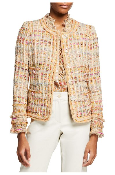 Maison Common Fringe-Cuff Tweed Jacket in 620 beige multi