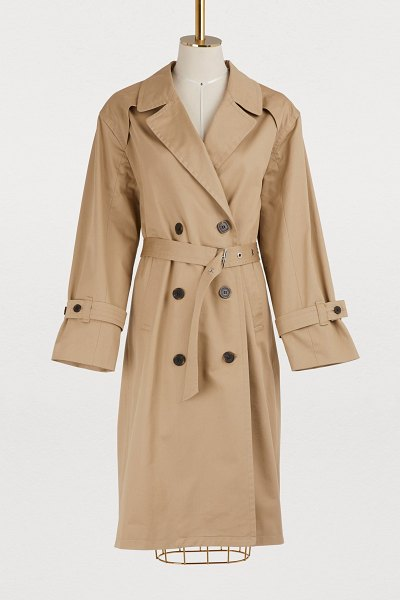 MAISON KITSUNÉ Helena cotton trench coat in beige - The sophisticated Parisian spirit, which is never...