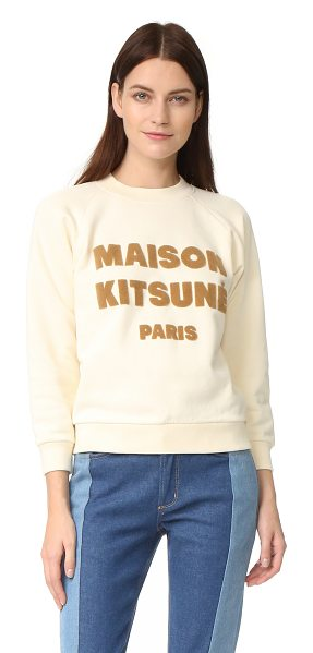 Maison Kitsune logo printed sweatshirt in ecru - A crew-neck CHRLDR sweatshirt with fused logo letters...