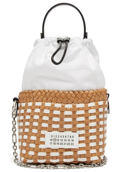MAISON MARGIELA 5ac woven faux-leather bucket bag in tan white