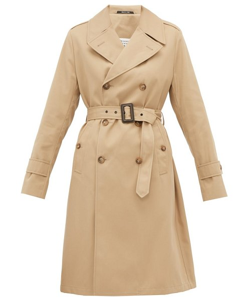 MAISON MARGIELA belted gabardine trench coat in camel