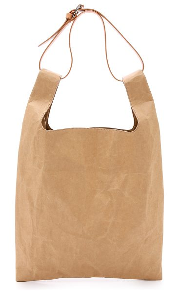 MAISON MARGIELA Cellulose tote bag in light brown - A modern Maison Margiela tote bag composed of sturdy,...