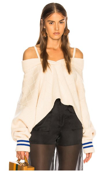 MAISON MARGIELA Cold Shoulder Sweater in neutral - 98% wool 2% polypropylene.  Made in Italy.  Dry clean...