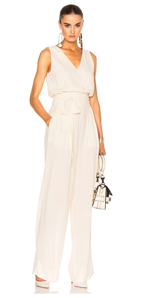 MAISON MARGIELA Crepe Sable Jumpsuit in ecru - 98% viscose 2% elastan. Made in Italy. Dry clean only....