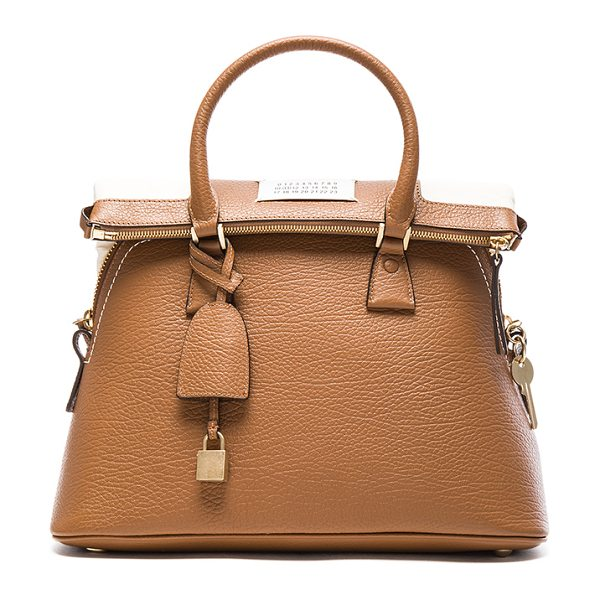 MAISON MARGIELA Foldover Bag in brown - Grained genuine leather with canvas twill lining and...