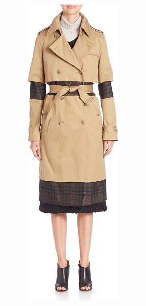 MAISON MARGIELA fur collar trench coat - Classic trench updated with plaid detailing and fur...