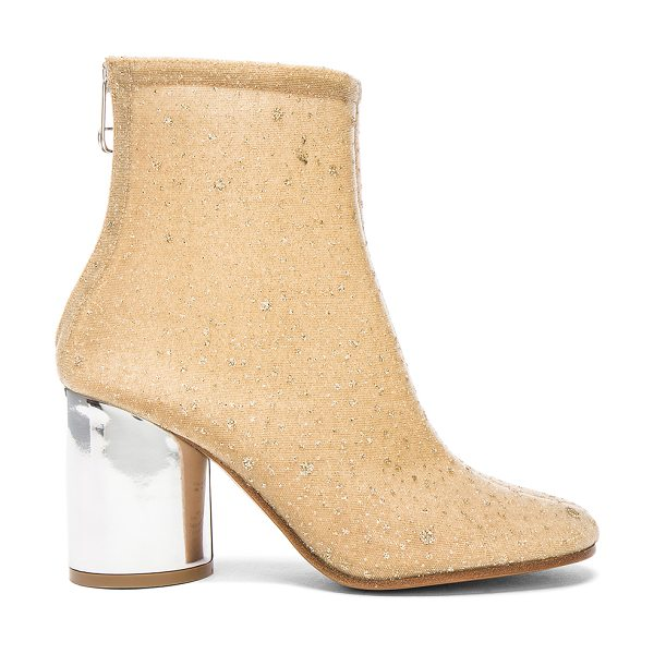 MAISON MARGIELA Heeled Booties in metallics,neutrals - Glitter coated mesh upper with leather sole.  Made in...