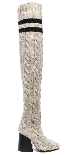 MAISON MARGIELA Knit Knee High Boots - Stretch knit upper with leather sole.  Made in Italy. ...