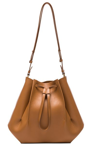 MAISON MARGIELA Large Bucket Bag in tobacco - Genuine leather with raw lining and silver-tone...