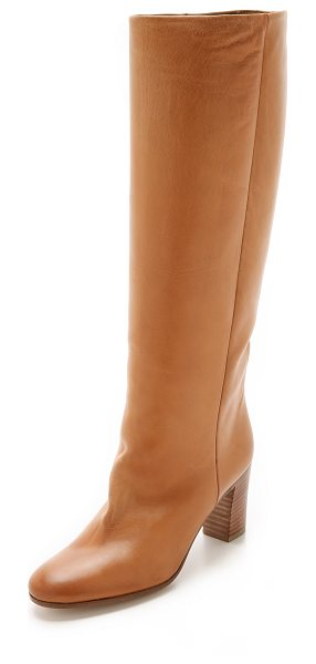 MAISON MARGIELA Leather boots in brown - Knee high Maison Margiela boots in sturdy, variegated...