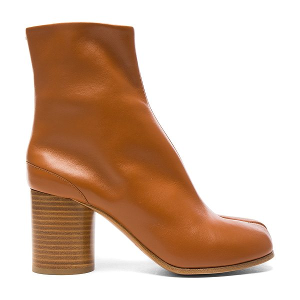 MAISON MARGIELA Leather Split Toe Booties in brown - Leather upper and sole. Made in Italy. Shaft measures...