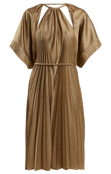 MAISON MARGIELA Pleated Cut Out Dress in bronze - Maison Margiela - This bronze Maison Margiela dress made...