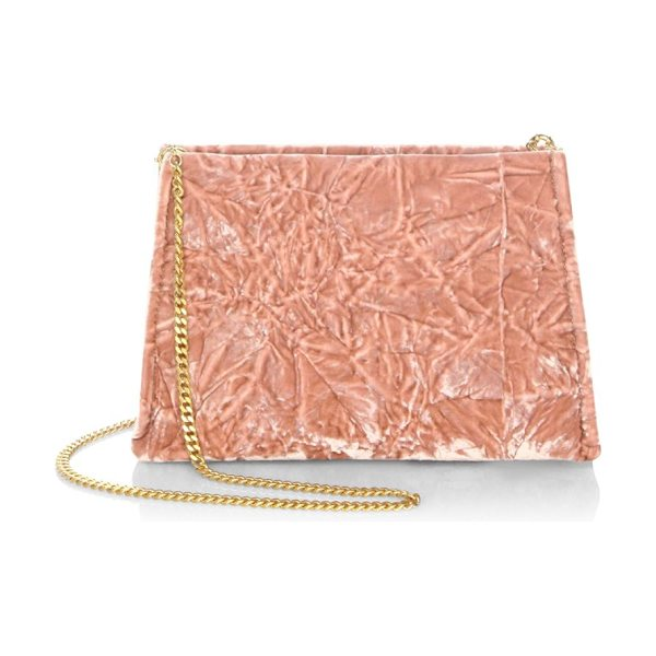 MAISON MARGIELA velvet shoulder bag in soft pink - .Textured shoulder bag with metallic chain strap....