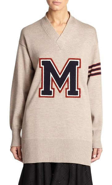 MAISON MARGIELA Wool varsity sweater in tan - This avant-garde take on the classic varsity sweater is...