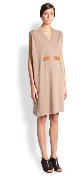 MAISON MARGIELA Belted drape sweater dress in lightbrown - This artful design in lightweight wool is cinched at the...