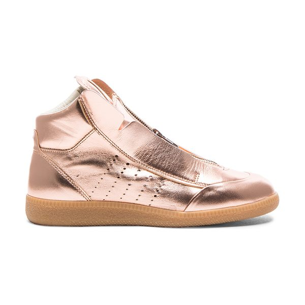 MAISON MARGIELA Laminated leather circuit sneakers in metallics - Metallic leather upper with rubber sole.  Made in Italy....
