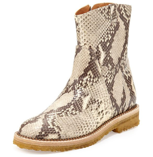 MAISON MARGIELA Python-embossed ankle boot in natural - Maison Margiela python-embossed leather ankle boot. 6...
