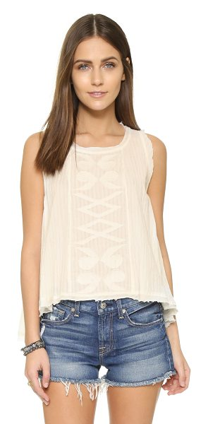 MAISON SCOTCH Embroidered tank in cream - Embroidery complements the bohemian look of this...