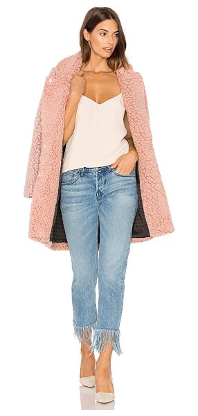 Maison Scotch Teddy Bear Cocoon Faux Fur Coat in pink - 50% wool 25% poly 25% viscose. Dry clean only. Button...