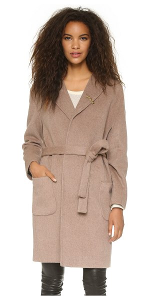 Maison Scotch Wrap wool coat in tan - A classic Maison Scotch overcoat in soft felt. An...