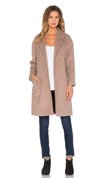 Maison Scotch Wrapover wool robe jacket in taupe - Wool blend. Dry clean only. Waist tie front closure....