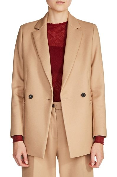 Maje double-breasted jacket in camel - Strong shoulders and double-breasted styling reinforce...