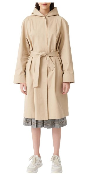 Maje gisele hooded cotton trench coat in beige