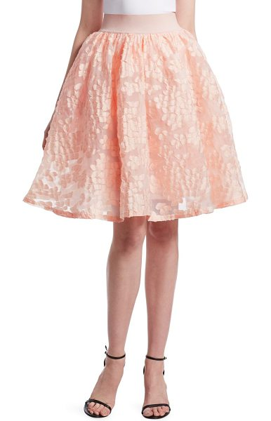 Maje joshua floral lace skirt in pink - Flared skirt with elastic waist and mesh floral design....