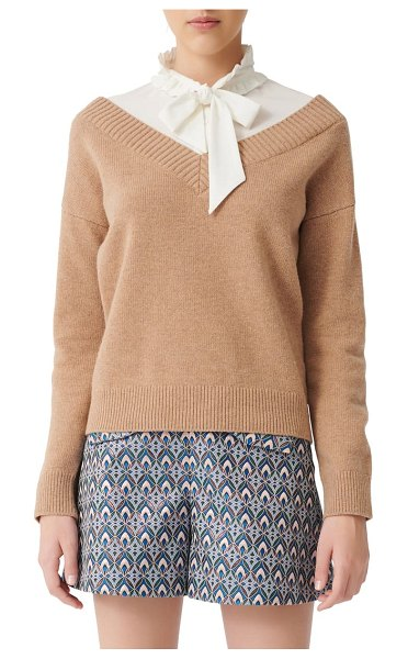 Maje mirelle layered shirt & wool blend sweater pullover in beige