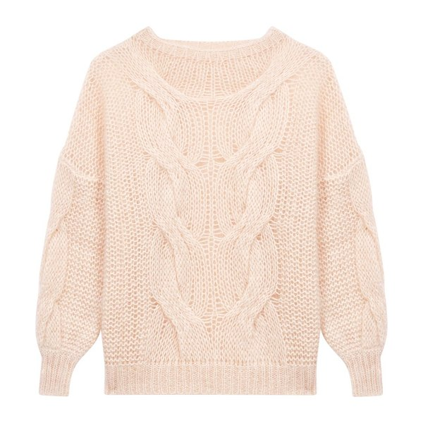 Maje morsade oversized cable-knit sweater in beige