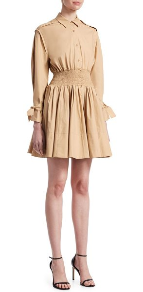 Maje ralix smocked shirtdress in beige - Crisp cotton flared dress with smocked waistband. Point...