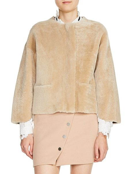 MAJE reversible genuine shearling & leather jacket - Get two luxe looks in one with this chic jacket in a...