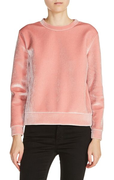 Maje velvet sweatshirt in rose - Maje brings a little luxe to your cozy-seeking down time...