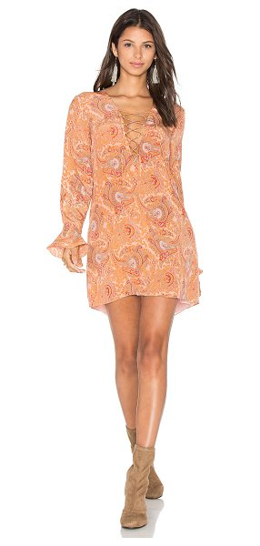 MAJORELLE Roundup Dress in peach - Silk blend. Dry clean only. Fully lined. Lace-up front...