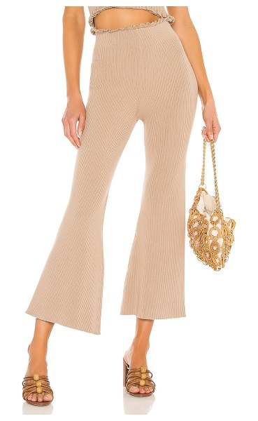 MAJORELLE sweetheart ribbed pant in taupe