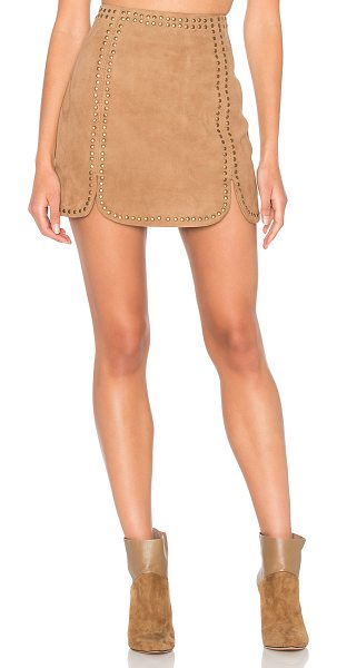 MAJORELLE Texas Skirt in tan - Sleek suede and studded all over. The Texas Skirt by...