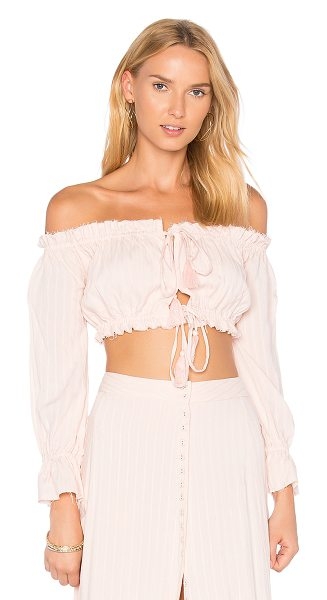 MAJORELLE Sangria Top - Raw ruffles and off-the-shoulder styling mark the...
