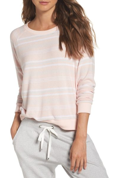Make + Model cozy crew raglan sweatshirt in pink veil rose stripe it out - Whether you're ringing in the weekend or just ready to...
