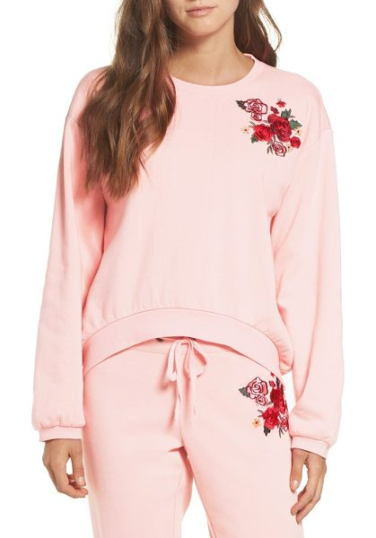 Make + Model embroidered sweatshirt in pink veil rose - Lounge around in the complete comfort of this soft, boxy...