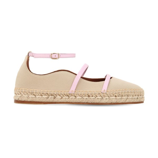 MALONE SOULIERS 20mm selina cotton & leather espadrilles in tan,blush