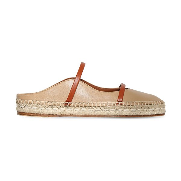 MALONE SOULIERS 20mm sienna leather espadrilles in beige