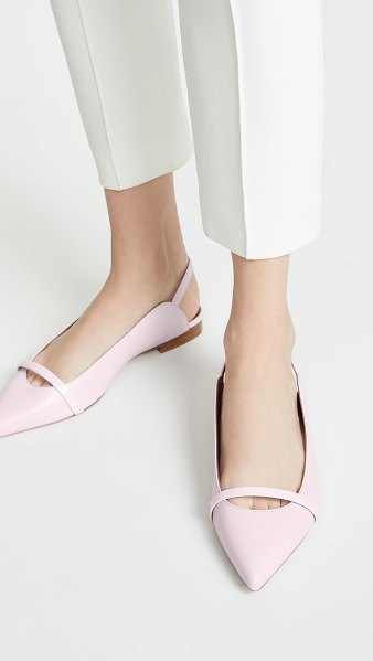 MALONE SOULIERS marion slingback flats in pink/baby pink