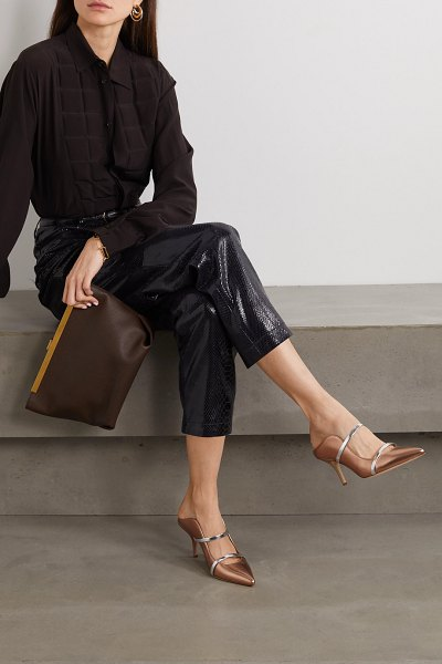 MALONE SOULIERS maureen 70 metallic leather mules in gold
