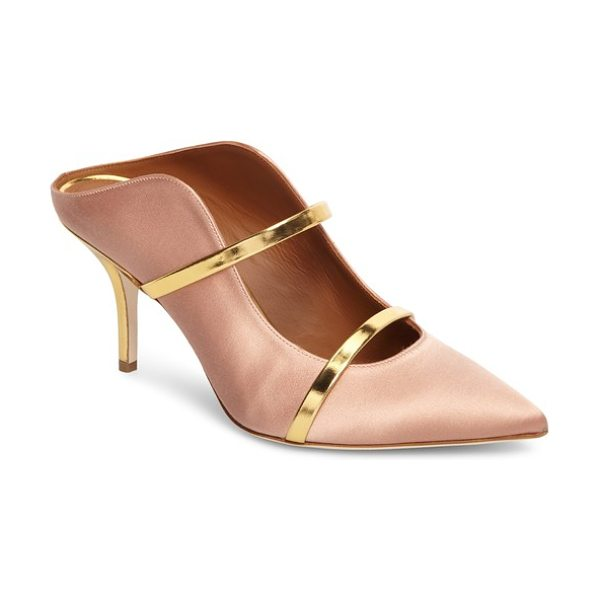 MALONE SOULIERS maureen double band mule in blush/ gold - Slim metallic-leather bands arch over the dramatically...