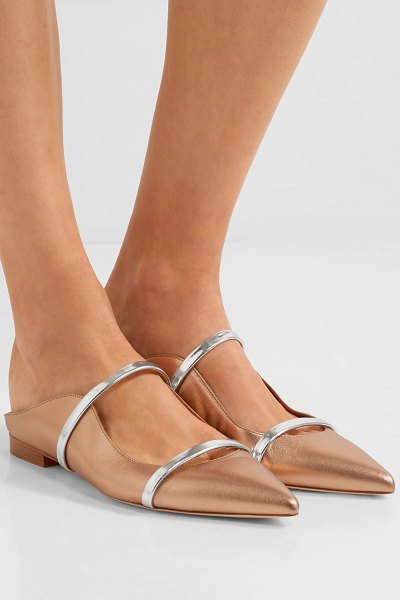 MALONE SOULIERS maureen metallic leather point-toe flats in gold