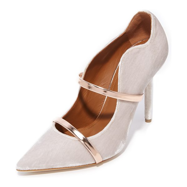 MALONE SOULIERS maureen pumps in blush/rose gold - Velvet Malone Souliers pumps with a scalloped top line...