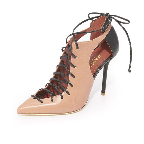 MALONE SOULIERS montana lace up pumps - Two-tone Malone Souliers pumps styled with cutouts at...