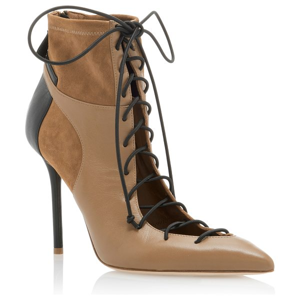 MALONE SOULIERS Montana Leather-Paneled Suede Ankle Boots in brown - * Pointed-toe silhouette * Heel measures approximately 4...