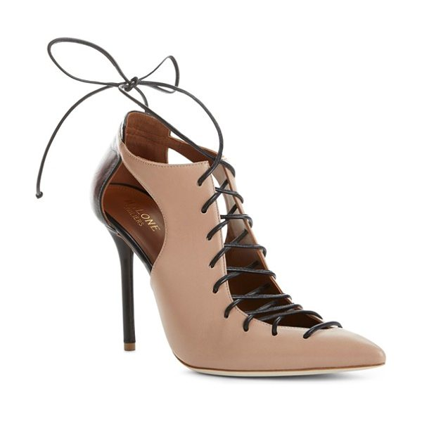 MALONE SOULIERS montana pointy toe pump in nude/ black leather - A dramatic lace-up vamp and pointy-toe silhouette add...